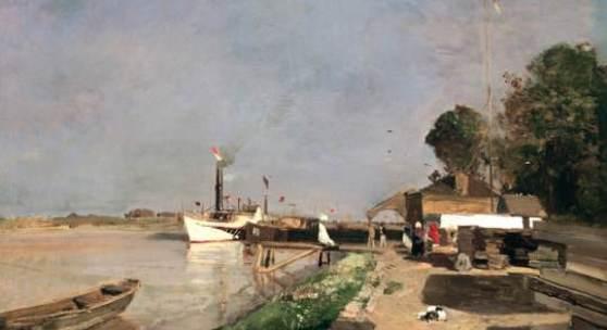 Emil Jakob Schindler  Die Dampfschiffstation an der Donau gegenüber Kaisermühlen, um 1871/1872  Öl auf Leinwand, 55 x 78,5 cm  © Belvedere, Wien