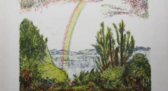 Bild 14: Erich Heckel, Regenbogen, Farblithografie auf Bütten; 1964; Ex.:86/300, 75,9&56 cm. 1.400 €; mit Vergolderrahmen, Passepartout und Mirogardglas UV70: 1.750 €