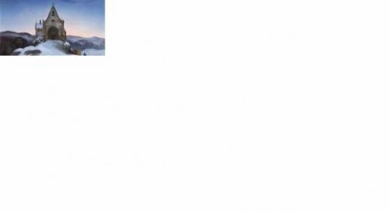 Ernst Ferdinand Oehme (Dresden 1797 – 1855)  Bergkapelle im Winter | Öl auf Leinwand  Ca. 78 x 110 cm | Signiert und datiert unten rechts: E. Oehme 1842
