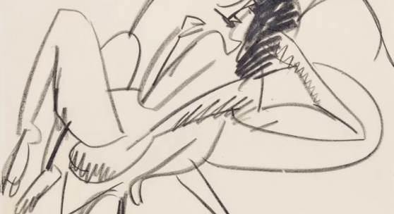 Ernst Ludwig Kirchner  Liegender weiblicher Akt, um 1914 Schwarze Kreide auf festem gräulichem Velin, 40,5 x 49,5 cm