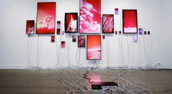 Evan Roth, Landscapes, installation view of Common Interests and Reciprocal Esteem exhibition, 2018       Courtesy of Erik Nordenhake gallery