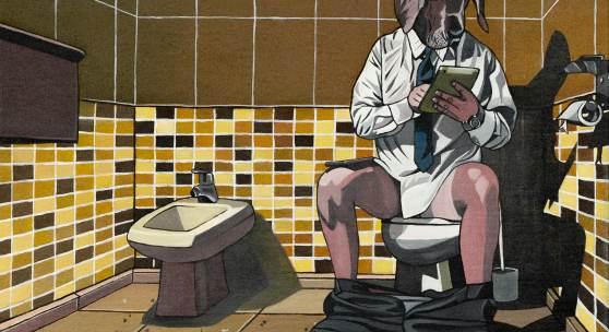 Deborah Sengl, Eyes wide shot (Toilette), Acryl auf Leinwand, 40 x 50 cm, 2020