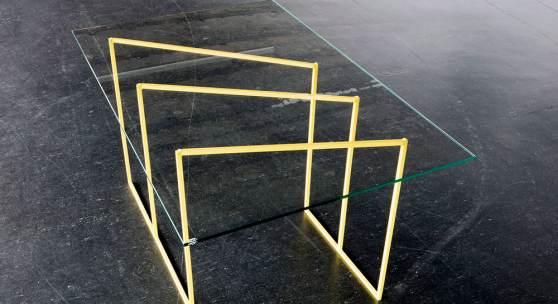 Liddy Scheffknecht sunbeam (table) 2018 Stahl lackiert, Glas100 x 65 x 54 cm© Liddy Scheffknecht & Bildrecht Wien