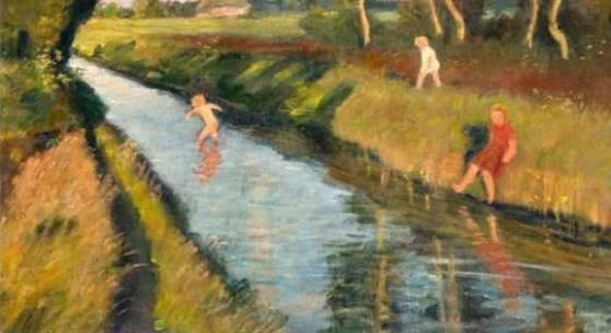 """Otto Modersohn (1685 - 1943)  """"Moorkanal mit Badenden"""". 1933. Öl/Lw. Signiert u. datiert. 47,5 x 58 cm / R. 63 x 74 cm. 156. Auktion 8.11.2014, Lot 1115, Limit: € 17.000"""
