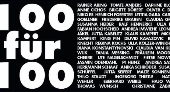 """Plakat: jährliche Weihnachtsausstellung """"100 FÜR 100"""""""