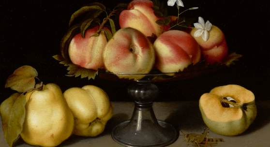 Fede Galizia Milan 1578 - 1630 A Glass Compote With Peaches, Jasmine Flowers, Quinces, And A Grasshopper oil on panel 12 by 17 in.; 30.5 by 43.2 cm. Estimate $2/3 million
