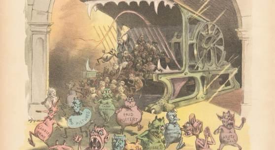 """""""The Evil Spirits of the Modern Day Press"""" (Karikatur, erschienen 21.11.1888 in der Zeitschrift 'Puck')"""