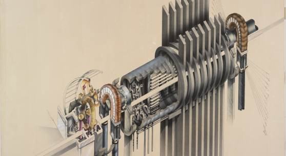 Jeremie Frank American The Macrophone, 1981 Technical pen and ink, airbrush and ink, collage and graphite underdrawing on paper board 81 x 111.4 cm (31 7/8 x 43 7/8 inches) From the Collection of the Alvin Boyarsky Archive   © Jeremie Frank