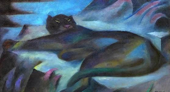 Franz Breest, Panther, ohne Datum, Oel auf Leinwand, Sammlung Wendt-Bendig, Hammoor-1