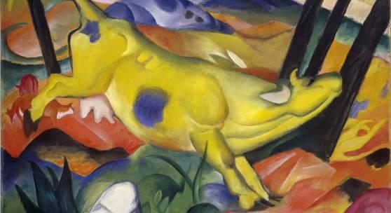 Franz Marc Die gelbe Kuh, 1911 Öl auf Leinwand, 140,5 x 189,2 cm Solomon R. Guggenheim Museum, New York, Solomon R. Guggenheim Founding Collection  Druckbare Bildgrösse ca.: 20 x 30 cm