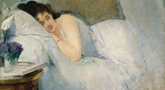 (Abb. oben: Eva Gonzalès, Erwachendes Mädchen, um 1877/78 (Detail) | Abb. Ausstellungsübersicht: Vincent van Gogh, Mohnfeld, 1889; beide: Kunsthalle Bremen – Der Kunstverein in Bremen)