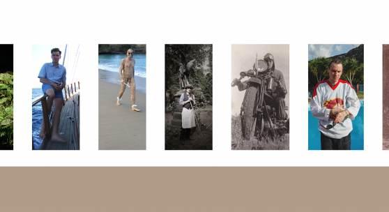 Wand mit sieben Plakaten auf Holztafeln (v.l.n.r.: Der Wanderer / Herz der Finsternis / Der Aussteiger / Der ewige Gärtner / Enno Pietsch / Thorben / Der Turner), 2018  ©alle Fotos: Manuel Frolik