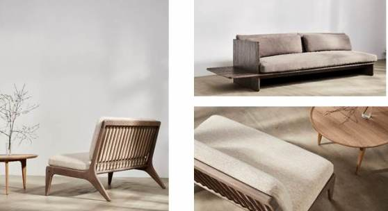 From left to right clockwise: Gleda Two Seater Sofa; Muse Sofa in Oak; Gleda Two Seater Sofa
