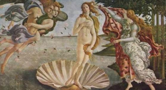 """Botticelli, Sandro  Geburt der Venus Renaissance   Das Gemälde """"Geburt der Venus"""" von Sandro Botticelli als hochwertige, handgemalte Ölgemälde-Replikation. Originalformat: 172,5 x 278,5 cm"""