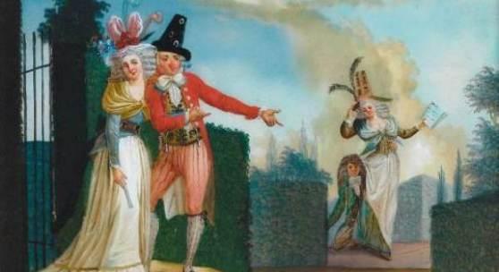 Genreszene. Zwei Liebespaare in einem höfischen Buchsbaumlabyrinth. Opernhafte frivole Genreszene. Augsburg, um 1780. 35 x 42 cm. R. Selten und museal!. Rgb.* Ausrufpreis: 1980 Euro