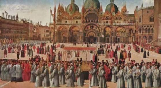 Gentile Bellini - Prozession auf der Piazza San Marco, Bildmaterial: www.gemaelde-webkatalog.de
