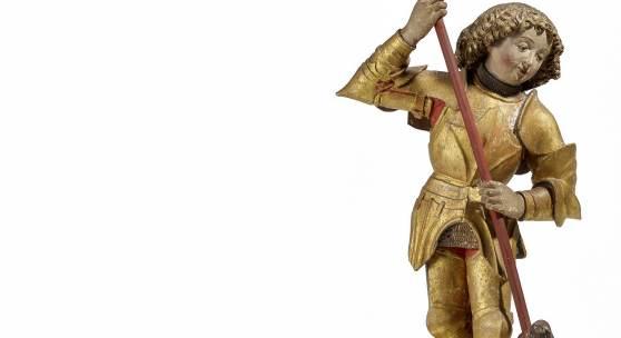 Schwäbisch - um 1500 Heiliger Georg mit dem Drachen   Lindenholz, farbig gefasst   Höhe ohne Lanze: 53cm Ergebnis: 36.120 Euro