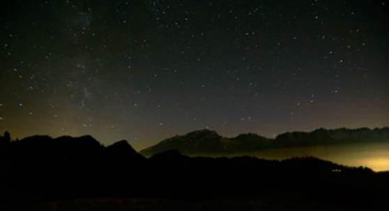 Georges Wenger. Nachthimmel Schwendialp 2014. Miniatur, Unikat. 12 x 8cm