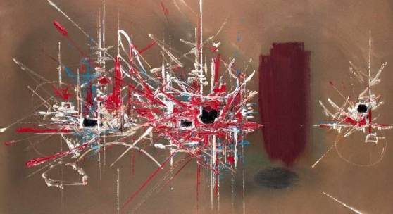 """Georges Mathieu 1921 Boulogne-sur-Mer - 2012 Paris Ambroisie Öl auf Lwd; H 73 cm, B 92 cm; signiert u. r. """"Mathieu""""; verso bezeichnet """"Ambroisie""""; Provenienz: Kunsthaus Fischinger Stuttgart, Privatsammlung Süddeutschland"""