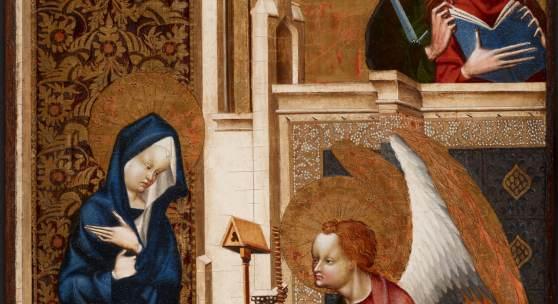 Meister von Heiligenkreuz Vermählung der Hl. Katharina, Rückseite: Madonna und Kind Diptychon, um 1400/1410 Eichenholz, Goldgrund 72 × 43,5 cm © KHM-Museumsverband