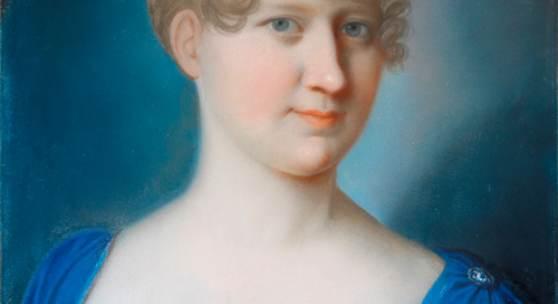 Das Portrait einer unbekannten Dame gehört zu den schönsten Werken der Kunstsammlung der Goethe- Universität Frankfurt. Die im Dreiviertelprofil Dargestellte lächelt zwar schüchtern, aber sie blickt den Betrachter dennoch selbstbewusst an. Der Stil der Frisur und des Kleides weisen auf französische Einflüsse des Empire zur Zeit Napoleon I. hin. Unbekannter Künstler (um 1800): Dame in Blau, Kreide auf Papier; Foto: Uwe Dettmar © Universitätsarchiv Frankfurt 2016