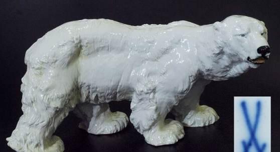 """Große Jugendstil-Tierfigur """"Eisbär"""". MEISSEN. Marke nach 1934 Mindestpreis:900 EUR"""