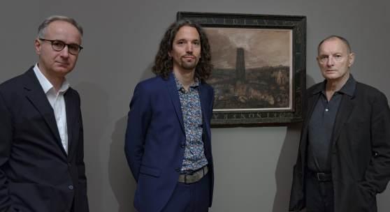 Gruppenfoto, v.l.n.r.: Leiter der Neuen Galerie Graz Peter Peer, Kurator Roman Grabner und Künstler Günter Brus, Foto: Universalmuseum Joanneum/N. Lackner