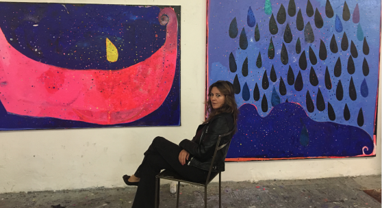 Malerin Béatrice Dreux in Helmuts Art Club,