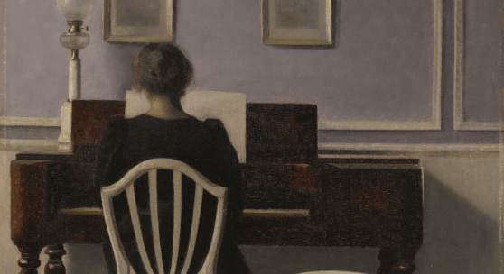Vilhelm Hammershøi Danish, 1864 - 1916 Interior with Woman at Piano, Strandgade 30 signed with the initials VH (lower left) oil on canvas 55.9 by 44.8 cm   Estimate $2,500,000-3,500,000
