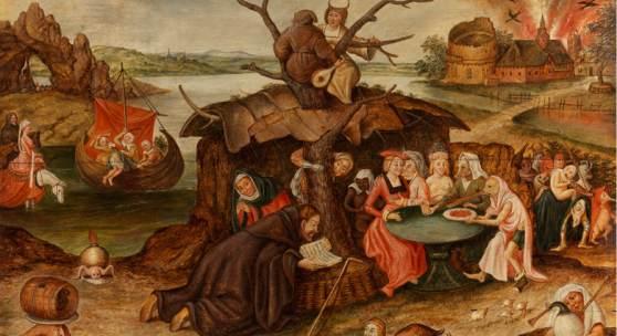 598 Pieter Brueghel der Jüngere, um 1564 Brüssel - 1637 Antwerpen  VERSUCHUNG DES HEILIGEN ANTONIUS Öl auf Holz. 49 x 65 cm. Gerahmt.  Schätzpreis: € 400.000 - 600.000