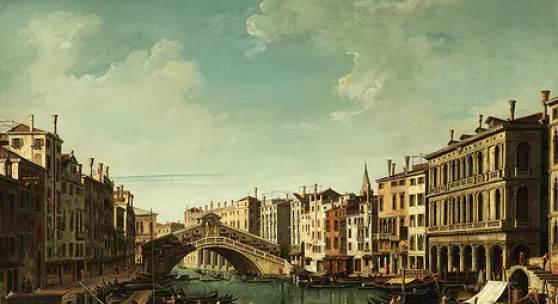 """340 Bernardo Bellotto, genannt """"Canaletto"""", 1721 Venedig – 1780 Warschau  VENEDIG, CANAL GRANDE MIT BLICK AUF DIE RIALTO-BRÜCKE Öl auf Leinwand. 55,5 x 73,5 cm.  Katalogpreis € 450.000 - 600.000"""