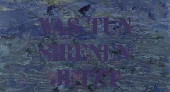 "Hannah Stippl ""Was tun Sirenen jetzt"" 2020, Acryl, Gouache & Sprayfarbe auf Papier, 59,5 x 84 cm"