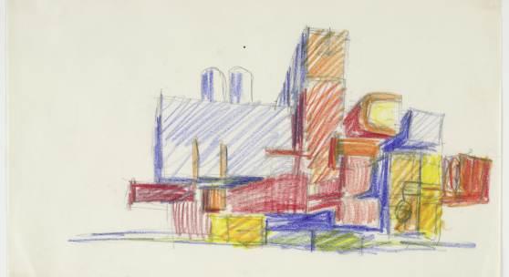 Hans Hollein Bauanlage, 1960 Buntstift Albertina, Wien. Leihgabe der Artothek des Bundes