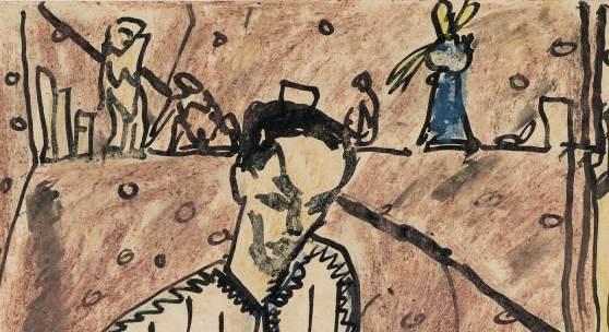 Erich Heckel, Selbstporträt (Postkarte an Franz Marc), 21.1.1913 Franz Marc Museum, Franz Marc Stiftung, Dauerleihgabe der Erbengemeinschaft nach Maria Marc