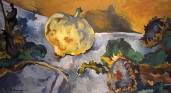 Heinrich Nauen, Sonnenblumen und Kürbis , Öltempera, um 1927, ?????? Foto: Galerie Decker
