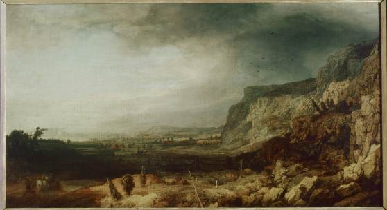 Hercules Segers, Mountain Landscape with Panorama, 1620-25. Oil on canvas applied to wood. Galleria degli Uffizi, Florence
