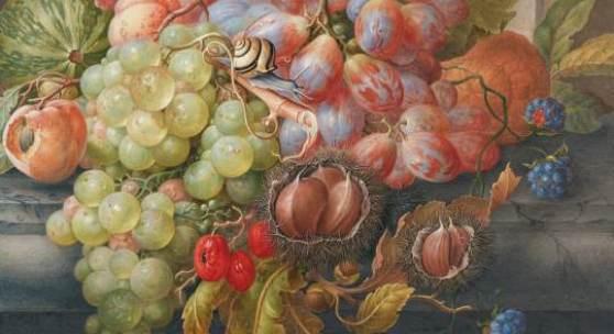 Herman Henstenburgh Früchtestillleben mit Maronen und kleiner Schnecke, um 1700 Albertina, Wien