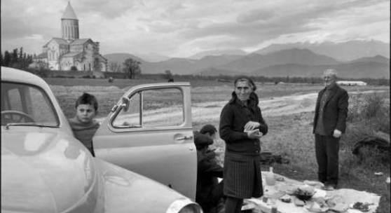 Henri Cartier-Bresson: GEORGIA, Kakheti, Telavi, 1972. Monastry Alavardi (XIth Century). Visitors from the kokhozes, celebrating Saint George. © MAGNUM Photos/Henri Cartier-Bresson