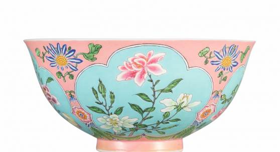 A SUPERBLY ENAMELLED, FINE AND EXCEEDINGLY RARE PINK-GROUND FALANGCAI BOWL PUCE-ENAMEL YUZHI MARK AND PERIOD OF KANGXI 14.7 cm, 5 3/4 in. Estimate upon request