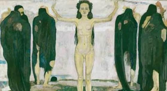 Bildlegende: Ferdinand Hodler Die Wahrheit, 1902 Erste Fassung Öl auf Leinwand, 196 x 273 cm Kunsthaus Zürich