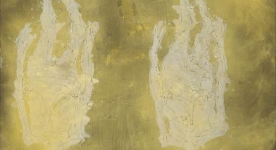 Georg Baselitz, Surdororeal, Oil and gold lacquer on canvas, 304 x 350 cm (119,69 x 137,8 in) Photo: Jochen Littkemann © Georg Baselitz