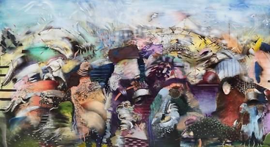Ali Banisadr, Homo Deus, 2018, Oil on Linen, 82 x 120 inches, © Ali Banisadr, Courtesy the artist and  Galerie Thaddaeus Ropac Ali Banisadr, Homo Deus, 2018, Oil on Linen, 82 x 120 inches, © Ali Banisadr, Courtesy the artist and Galerie Thaddaeus Ropac