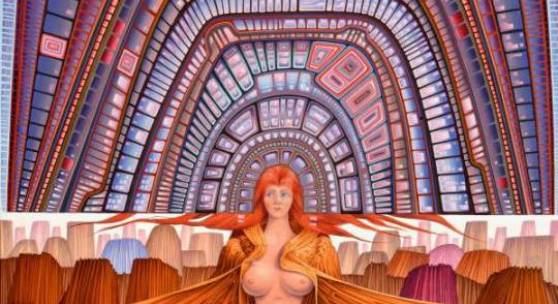 """Wolfgang Hutter (geb. 1928 Wien) """"Zeittunnel"""" Öl auf Platte signiert und datiert 1979 51 x 62,5 cm (Galerie Szaal)"""