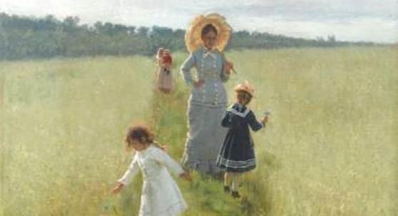 Ilja Repin, Auf dem Feldweg. Wera Repina mit ihren Kindern, 1879, Öl auf Leinwand, 61.5 х 48 cm. Staatliche Tretjakow-Galerie, Moskau