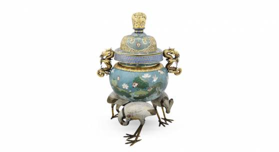 A magnificent imposing cloisonné enamel and gilt-bronze tripod 'cranes' incense burner and cover, estimated at £60,000-80,000