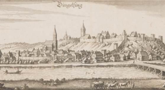 """Kupferstich """"Dingolfing' von Matthäus Merian, 1644"""