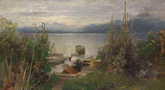 Joseph Wopfner, Fischerboote bei Frauenchiemsee, 1884, Öl auf Leinwand, 50 x 72,8 cm, Inv.-Nr. 12589
