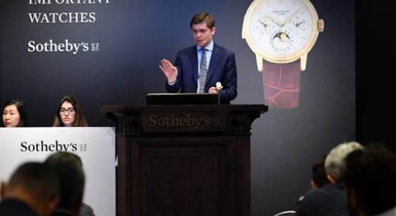 Sam Hines auctioneering during the Important Watches sale, 12 November 2019