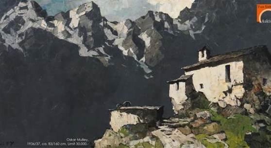 "Oskar Mulley, ""Alpenhof bei Garmisch"", um 1936/37 Öl auf Leinwand, ca. 83/160 cm, Limit 30.000,-"