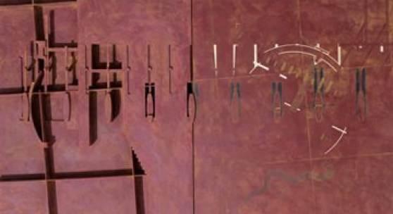 Abb.: Thom Mayne mit Maya Shimoguchi, Crawford Drawdel, 1988, Mischtechnik, 70,5 × 101,5 × 7,5 cm © Thom Mayne
